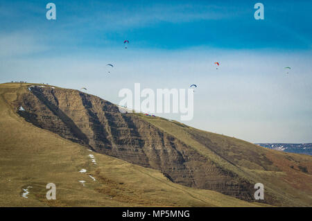 Paragliders over Mam Tor - Stock Image