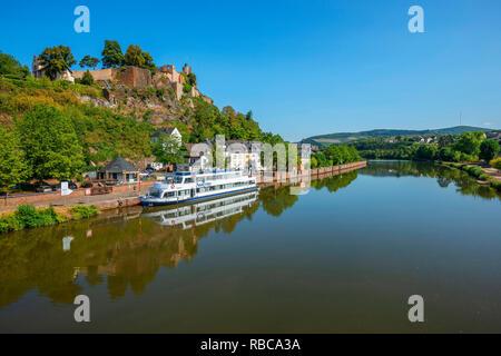 View at Saarburg with Saarburg castle and river Saar, Rhineland-Palatinate, Germany - Stock Image