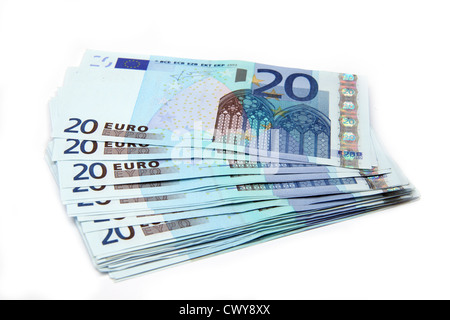 €20 Notes fanned out and isolated on a white background. - Stock Image