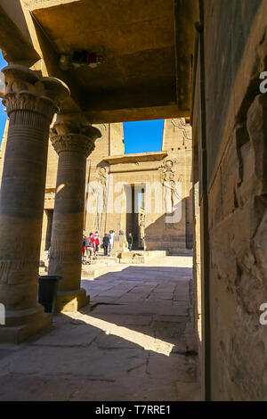 Philae, an Egyptian temple complex on Agilkia Island in the reservoir of the Aswan Low Dam, downstream of the Aswan Dam and Lake Nasser, Egypt - Stock Image