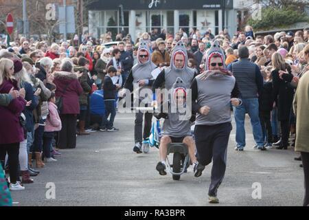 Sunninghill, Berkshire, UK. 1st January, 2019.  Sunninghill Charity New Years Day Wheelbarrow Race Credit: Andrew Spiers/Alamy Live News - Stock Image