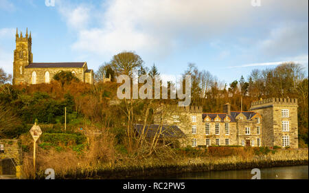 village church and castle in castletownshend west cork ireland - Stock Image