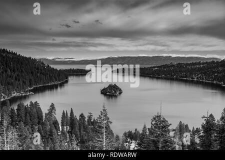 View of Lake Tahoe from near Emerald Bay, California, USA, including Fannette Island, in the end of the winter of 2019, covered with a very shallow la - Stock Image