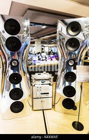 Sonos stereo, Sonos speakers, Sonos sound system, Aluminum speakers, loud sound system, expensive stereo, expensive, costly, speakers, speaker system, - Stock Image
