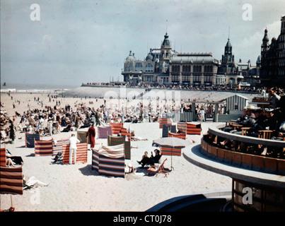 Beach and Kursaal Casino, Ostend, Belgium,1936 - Stock Image