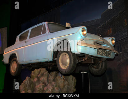 The  Ford Anglia 105SE, used in Harry Potter and the Chamber of Secrets, Warner Brothers Studio, Leavesdon - Stock Image
