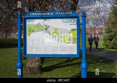 Cast iron information display sign for Christchurch Meadows in Reading, Berkshire., part of Thames Parks. - Stock Image