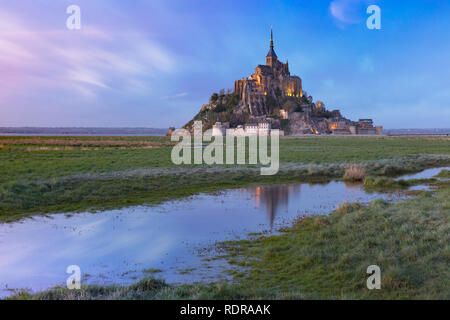Mont Saint Michel at sunset, Normandy, France - Stock Image