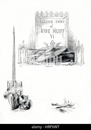 Henry VI, Part 2, Victorian book frontispiece for the play by William Shakespeare from the 1849 illustrated book - Stock Image