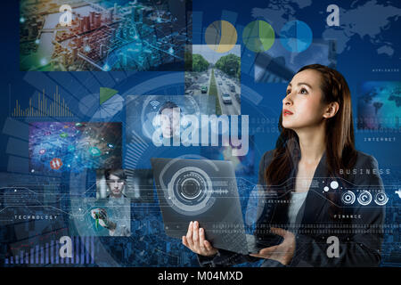 online curation media concept. electronic newspaper. young woman holding laptop PC and various news images. abstract - Stock Image