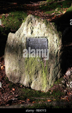 A memorial stone to Dorothy Wordsworth, sister of William Wordsworth, at Lancrigg, Grasmere - Stock Image