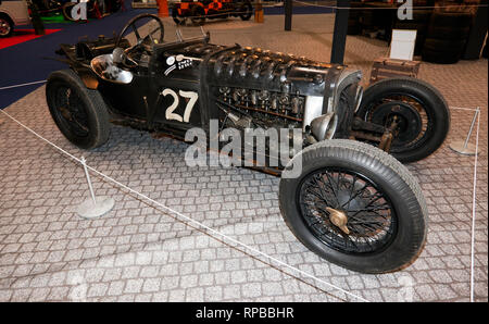 Side view of GN Parker, fitted with a 1929 Cirrus Hermes engine at the  London Classic Car Show, in 'The need For Speed' display curated by Edd China - Stock Image
