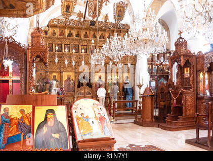 The Altar of The Monastery of The Holy Cross (Timios Stavros), Omodos (Troodos Mountains), Limassol District, Republic of Cyprus - Stock Image