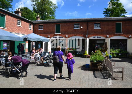 The Stables shopping court at Hylands House and Gardens, Chelmsford, Essex, UK - artists studio, gift shop - Stock Image