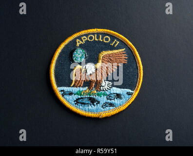 NASA mission patch from the Apollo 11 space flight to the moon.  NASA embroidered mission badge. - Stock Image