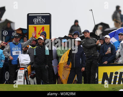Portrush, County Antrim, Northern Ireland. 17th July 2019. The 148th Open Golf Championship, Royal Portrush Golf Club, Practice day ; Justin Rose (ENG) pays from the tee of the par four 14th hole Credit: Action Plus Sports Images/Alamy Live News - Stock Image