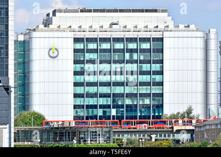 Global Switch technology data centre business logo on modern building docklands light railway East India Docks station & train East London England UK - Stock Image