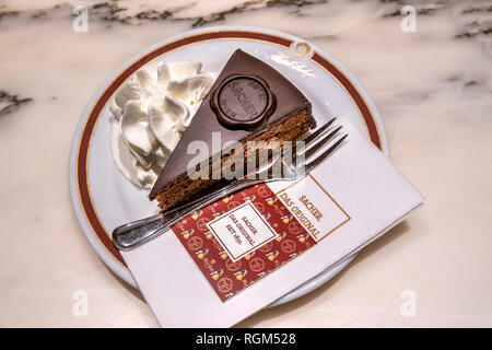 The original Sachertorte chocolate cake served at Cafe Sacher, Salzburg, Austria - Stock Image