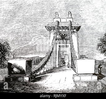 Illustration showing Clifton suspension bridge, over the Avon Gorge. This bridge, was designed by Brunel in 1831, but was not built until after his death - Stock Image