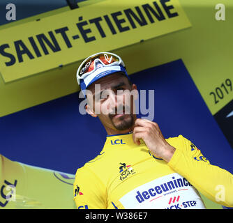 Macon to Saint-Etienne, France. 13th July 2019. Macon to Saint-Etienne, France. 13th July 2019,  Macon to Saint-Etienne, France; Tour de France cycling tour, stage 8; French Julian Alaphilippe, Deceuninck - Quick - Step with his yellow jersey Credit: Action Plus Sports Images/Alamy Live News Credit: Action Plus Sports Images/Alamy Live News - Stock Image