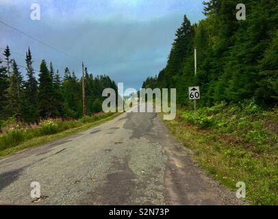 Patched up road in New Brunswick Canada - Stock Image