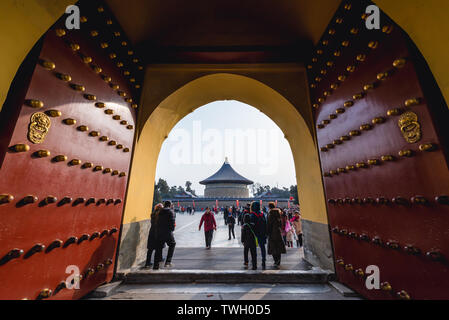 Chenzhen Gate in Temple of Heaven in Beijing, China - passage from Danbi Bridge to Imperial Vault of Heaven - Stock Image
