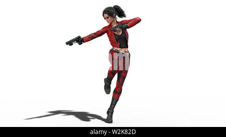 Action girl in jump shooting guns, woman in red leather suit with hand weapons isolated on white background, 3D rendering - Stock Image