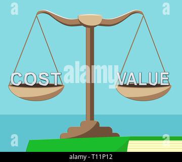 Cost Vs Value Balance Denotes Return On Investment Roi. Spending And Expenses Versus Net Profit - 3d Illustration - Stock Image