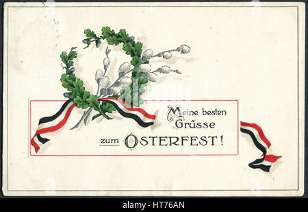 GERMANY - CIRCA 1915: A postcard printed in Germany, shows a wreath of oak and willow branches. The inscription - Stock Image