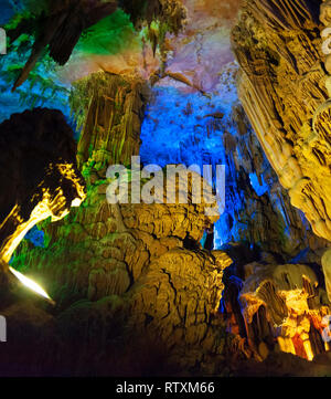 The  Reed Flute caves of Guilin, China. - Stock Image