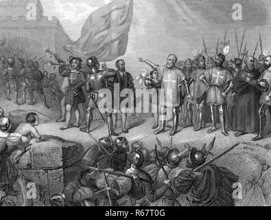 GREAT SIEGE OF MALTA 1565 The Knights Hospitaller celebrate repulsing the Turkish invasion - Stock Image