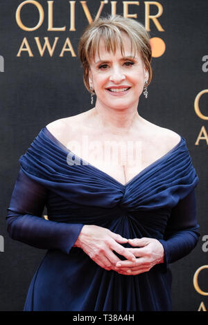 London, UK. 7th Apr 2019. Patti LuPone poses on the red carpet at the Olivier Awards on Sunday 7 April 2019 at Royal Albert Hall, London. Picture by Credit: Julie Edwards/Alamy Live News - Stock Image