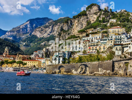 view of beautiful Amalfi - Stock Image