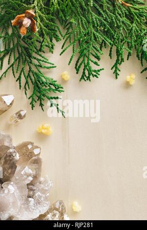 Smoky Quartz and Incense Cedar with Space for Copy - Stock Image