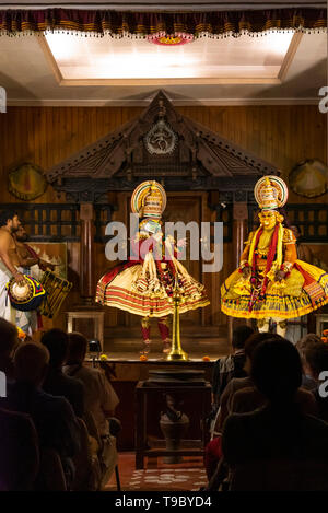 Vertical view of a Kathakali performance in Kerala, India. - Stock Image