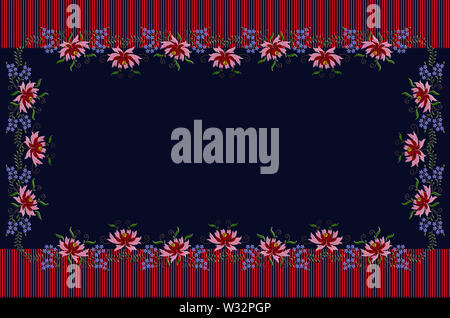 Dark blue tablecloth with striped red border framed by embroidered flowers with red and pink petals and blue little flowers on twisted branches - Stock Image
