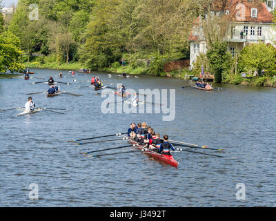 Rowing clubs celebrate the start of the rowing season, all kinds of boats  active, rowing on river Aller, Celle, - Stock Image