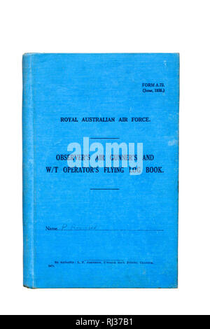 RAAF Observer's Air Gunner's and W/T Operator's Flying Log Book, published June 1938. - Stock Image