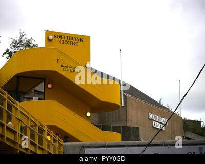Southbank Centres yellow staircase leading to café, bar and garden - Stock Image