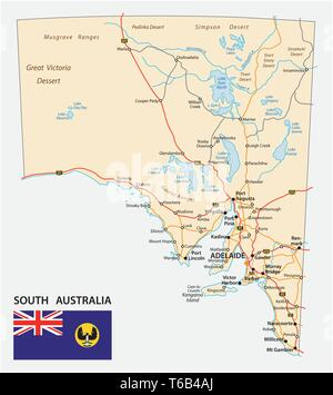 road map of the state South Australia with flag - Stock Image