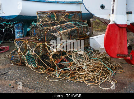 Lobster / crab creel on the fishing harbor at Portknockie, Scotland, UK - Stock Image