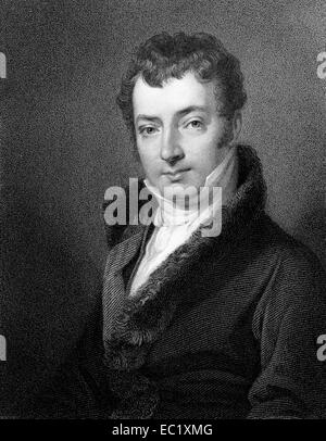 Washington Irving (1783-1859) on engraving from 1834. American author, essayist, biographer and historian. - Stock Image