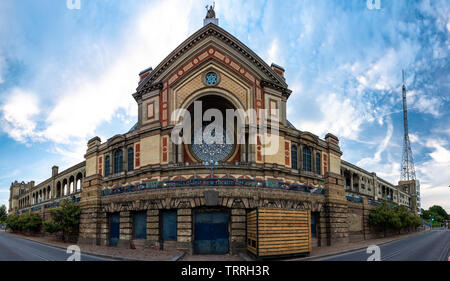 London, England, UK - June 1, 2019: An ultra-wideangle fisheye-style stitched photo shows the scale of Alexandra Palace in north London. - Stock Image