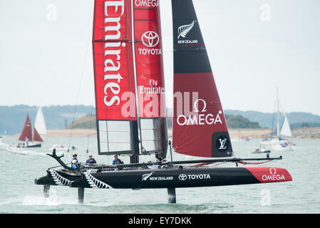 Portsmouth, UK. 23rd July 2015. Emirates Team New Zealand foils during the Parade of Sail on day one of the America's - Stock Image