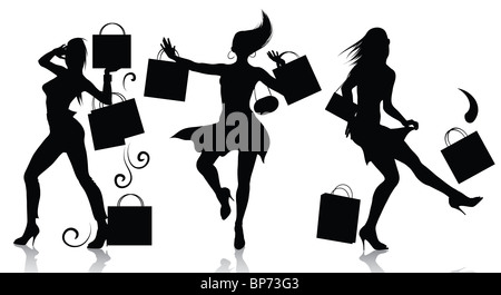 Shopping Girl Silhouettes - Stock Image