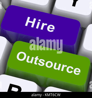 Outsource Hire Keys Showing Subcontracting And Freelance Workers - Stock Image