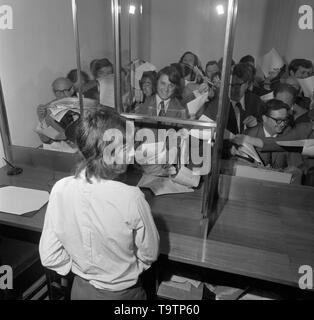 The scene at the Midland Bank's New Issue Department in the City of London, when the offer for sale of 10 million Ordinary Shares in J. Sainsbury Limited opened and closed today. Sainsbury's is the largest private company to go public so far. - Stock Image