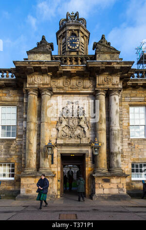 EDINBURGH, SCOTLAND - FEBRUARY 9, 2019 - Placed in the Royal Mile, the Palace of Holyroodhouse is the official residence of the Monarchy in Scotland.  - Stock Image