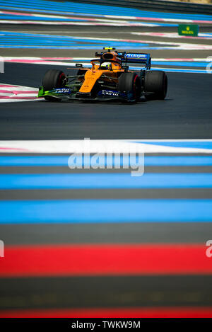 Marseille, France. 21st June 2019, Circuit Automobile Paul Ricard, Le Castellet, Marseille, France ; FIA Formula 1 Grand Prix of France, practise sessions; Lando Norris of the Mclaren Team in action during free practice 1 Credit: Action Plus Sports Images/Alamy Live News - Stock Image