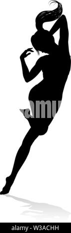 Dancing Woman Silhouette - Stock Image